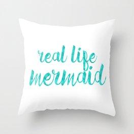 Real Life Mermaid in Sea Breeze Throw Pillow