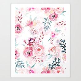 Pink Watercolor Florals I Art Print