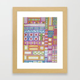 Filled Pink Grid Framed Art Print