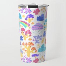 Mushrooms, Rainbows, & Rain Clouds Travel Mug