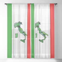 Map of Italy and Italian Flag Sheer Curtain