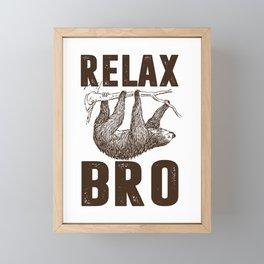 sloth sloth relax bro animal hang slowly Framed Mini Art Print
