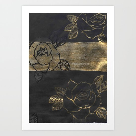 Feminine, Grung Print. Black and Gold Roses. Art Print