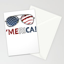 Sunglasses Merica Flag Stationery Cards