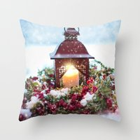 merry christmas Throw Pillows featuring Merry Christmas by UtArt