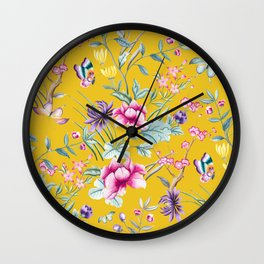 Yellow Chinese Floral Wall Clock