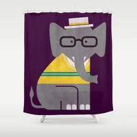 preppy Shower Curtains featuring Rodney the preppy elephant by Picomodi