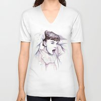 hepburn V-neck T-shirts featuring Audrey Hepburn Watercolor by Olechka