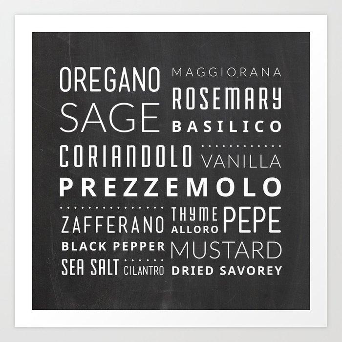 Italian Herbs & Spices Art Print