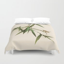 A grasshopper on bamboo leaves Duvet Cover