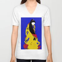 woman V-neck T-shirts featuring Woman  by Saundra Myles