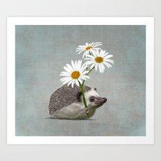 Hedgehog in love Art Print