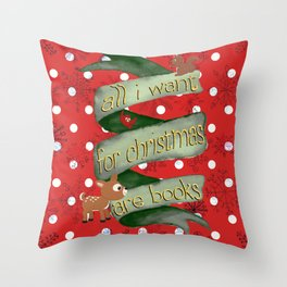 Christmas books Throw Pillow