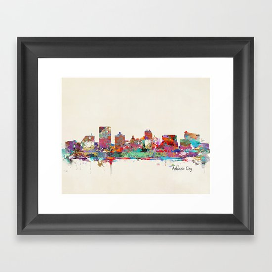 Atlantic city New Jersey skyline Framed Art Print