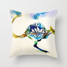 Australia City Skyline Vintage Travel Love Watercolor Throw Pillow