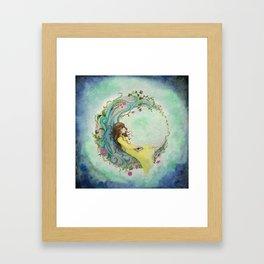 The Girl At The Moon Framed Art Print