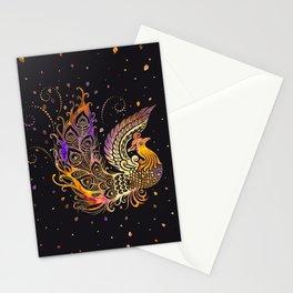Colorful Glow Phoenix Bird Stationery Cards