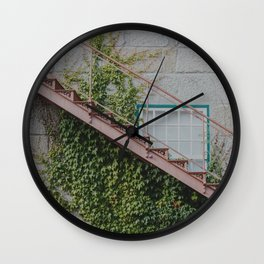 Stone House with Ivy Wall Wall Clock