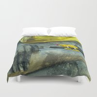 thailand Duvet Covers featuring Buddha in Thailand by Maria Heyens