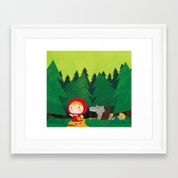 red riding hood Framed Art Prints featuring Little Red Riding Hood by parisian samurai studio