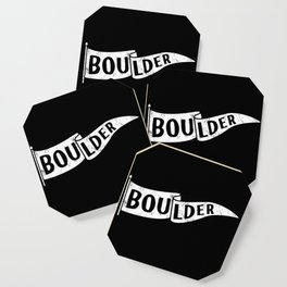 Boulder Colorado Pennant Flag B&W // University College Dorm Room Graphic Design Decor Black & White Coaster