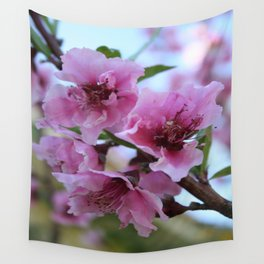 Peach Tree Blossom Close Up Wall Tapestry