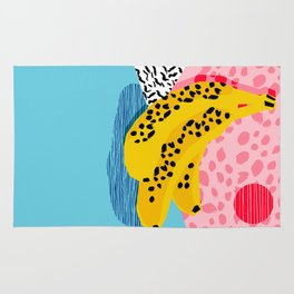 What It Is - memphis throwback banana fruit retro minimal pattern neon bright 1980s 80s style art Rug