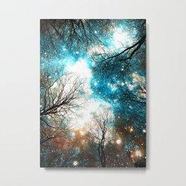 Black Trees Turquoise Brown Space Metal Print