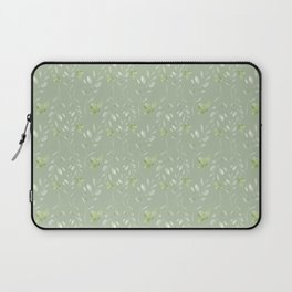 Mint green watercolor hand painted floral leaves Laptop Sleeve