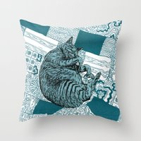 calvin and hobbes Throw Pillows featuring Blue Hobbes by Maritsa Patrinos