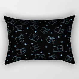 Classic Books Invert Blue Rectangular Pillow