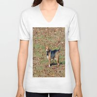 beagle V-neck T-shirts featuring Beagle by Frankie Cat