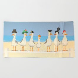 Seagulls with Hats Beach Towel