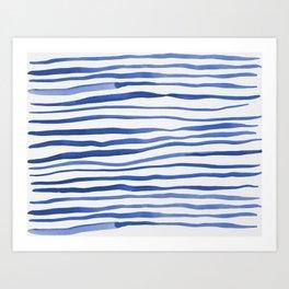 Irregular watercolor lines - blue Art Print