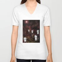 kodama V-neck T-shirts featuring Princess Mononoke - The Kodama by pkarnold + The Cult Print Shop