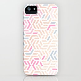Pastel Deco Hexagon Pattern - Gold, pink & grey #pastelvibes #pattern #deco iPhone Case