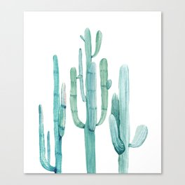 Cacti Fam Turquoise Canvas Print