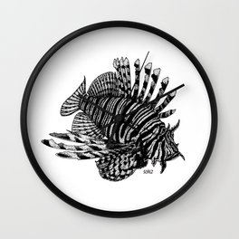 Red Lionfish - Beauty Is The Beast Wall Clock