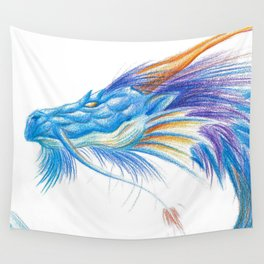 Blue Blaze Dragon Wall Tapestry