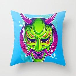 Neon Noh - Hannya Throw Pillow