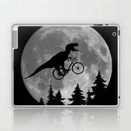 Biker t rex In Sky With Moon 80s Parody Laptop & iPad Skin