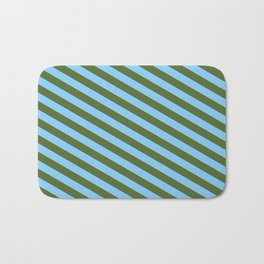 Dark Olive Green & Light Sky Blue Colored Lines Pattern Bath Mat