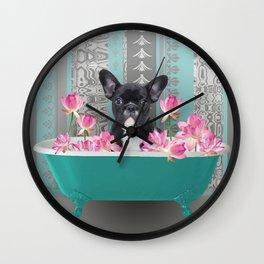 Turquoise Bathtub - French Bulldog Lotus Flower Wall Clock