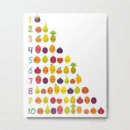 numbers for preschool kindergarten kids kawaii fruit from one to ten Metal Print
