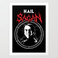 atheist Art Prints featuring HAIL SAGAN by Normal-Sized Deet