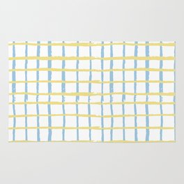 Pastel yellow teal watercolor geometrical checker stripes Rug