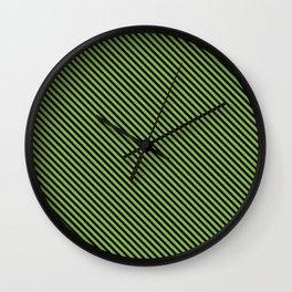 Greenery and Black Stripe Wall Clock