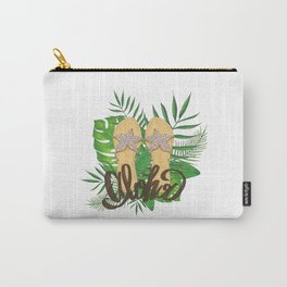 Aloha Hand Painting Palm Leaves Hand Drawn Carry-All Pouch