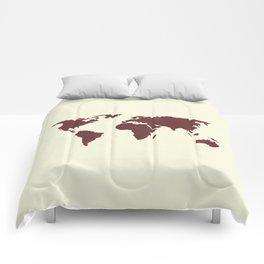 World Map -  Crimson Red on Cream Linen Comforters