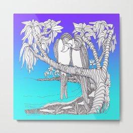 Valentine Love Birds in Paradise A Zentangle Illustration Metal Print